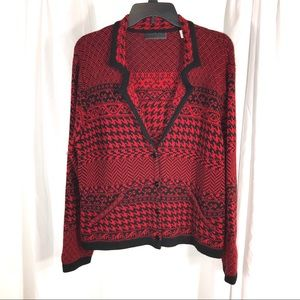 Coldwater Creek Red Black Cardigan, size PXL